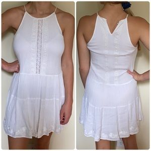 Embroidered Front Panel Spaghetti Strap Dress
